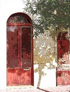 Shadowed Red Door