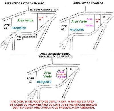 """Novo mapa do JP: área verde """"antes e depois"""" da """"legalização da invasão"""""""