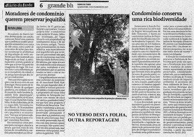 """Reportagens sobre """"Jequitibá do JP"""" nos jornais Diário da Tarde e Hoje em Dia"""