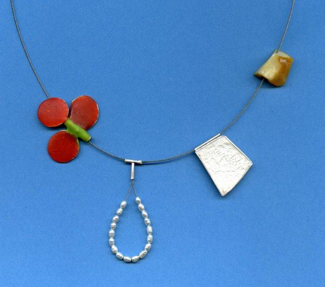 Ch-1 silver, e-poxy, textil pearls