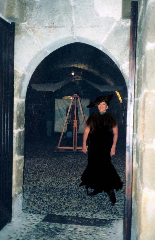 En la puerta de entrada a la  esposición de Leonardo Da Vinci