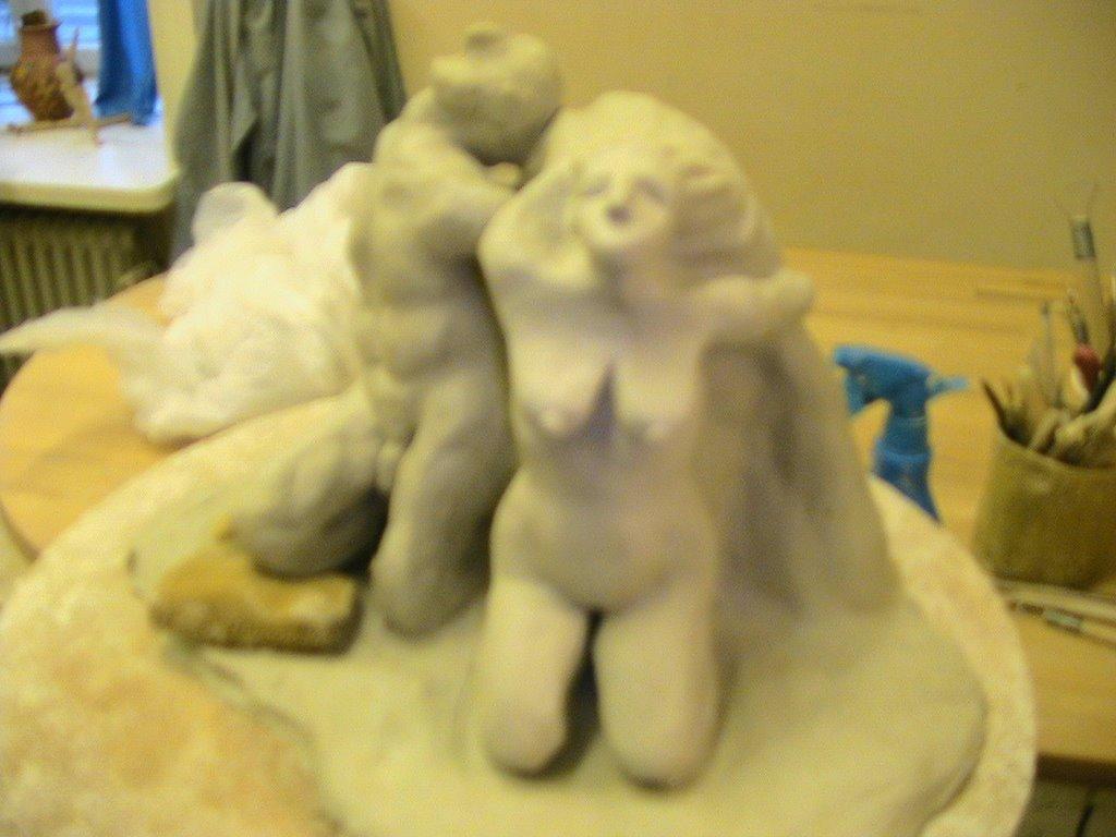 Proyecto de escultura con algunas horas de trabajo.