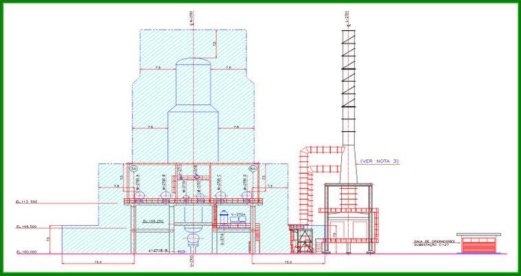 """Desenho 2D clássico de elevação de classificação de """"áreas"""": Casa de Controle Local em área segura."""