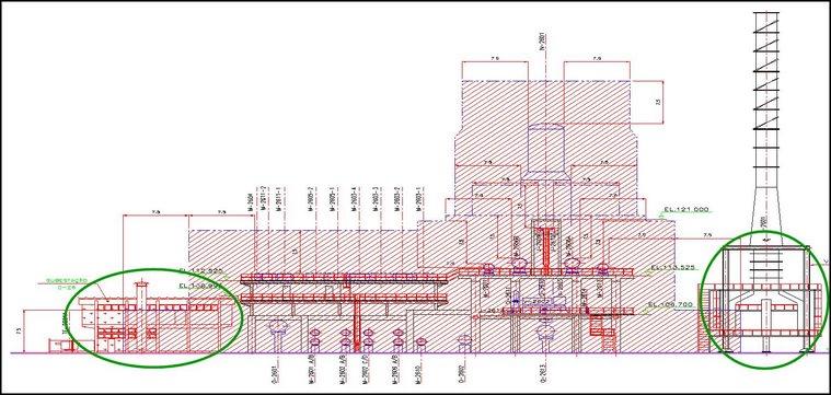 """Desenho 2D clássico de elevação de classificação de """"áreas"""" em indústria petroquímica."""