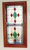 B&B  diamond patterned antique glass window
