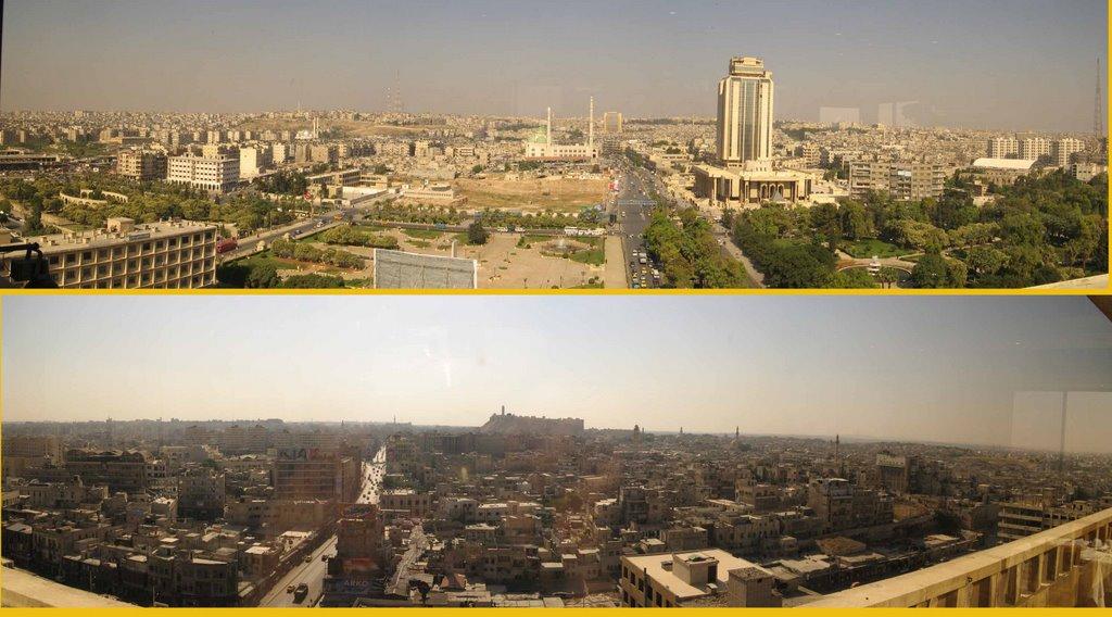 ......Vistas panorámicas de Alepo desde el comedor del hotel Mirage