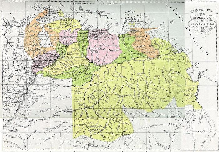 Este era el mapa de Venezuela en 1.840
