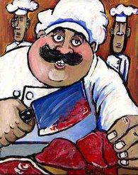 Le boucher et ses 2 stagiaires maigrelets (VENDU!)