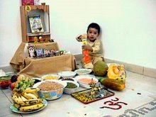 MY SECOND VISHU, HELPING MOTHER TO ARRANGE VISHU KANI