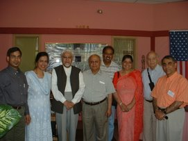 Dr. Ghazi with visitors at his Iqra Office in Chicago, IL US