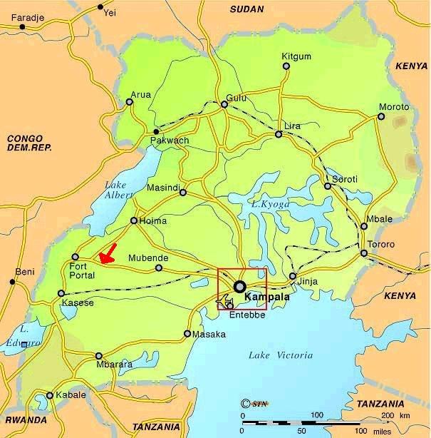 Mapa Ugandy