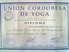 Certificado de Professor de Hatha Yoga