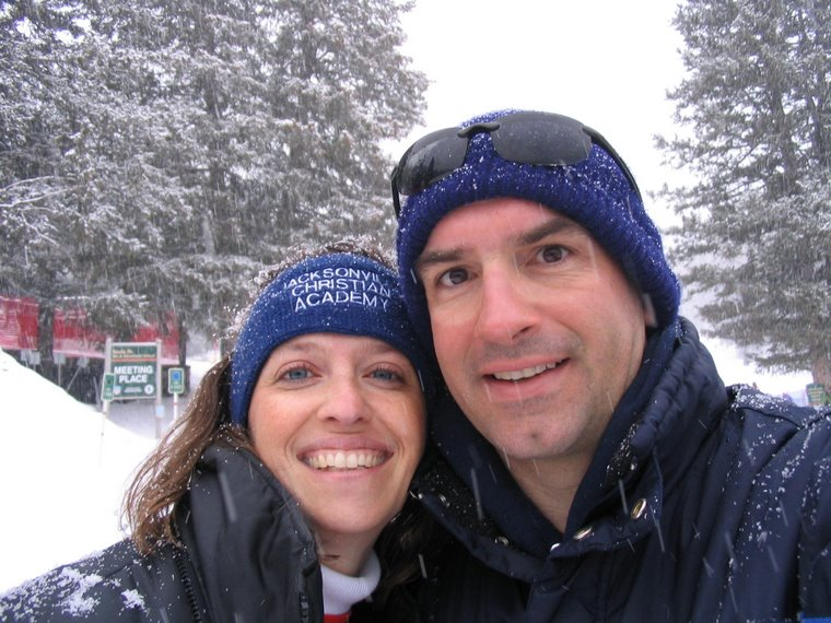 The wife and I skiing