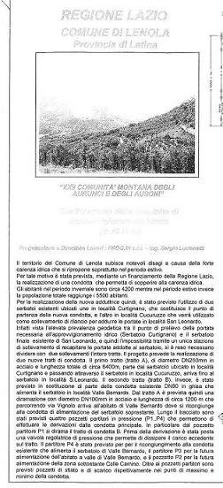 Copia della brochure del nuovo acquedotto