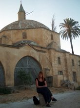 By meditation bevor the Mosque near saltlake by airport Larnaca in Cyprus