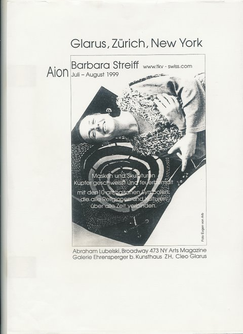 1999 AION art exhibition CH - NYC by Barbara Streiff with burned signs of alchemy on metall