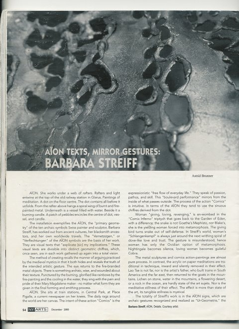 2000 NYArtsmagazine about the artwork of Barbara Streiff