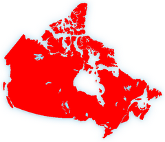 Red and white Canadian map...