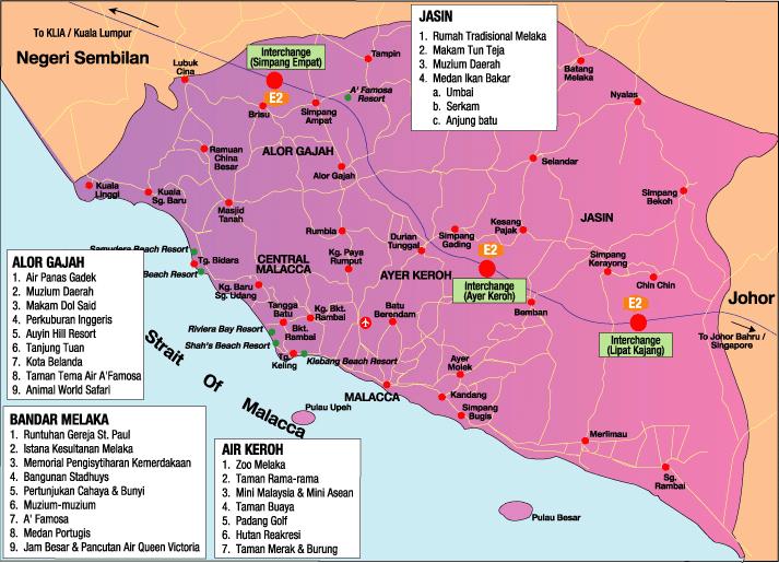 Peta pelancongan Melaka