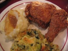 Fried chicken with side of zuchinni casserole