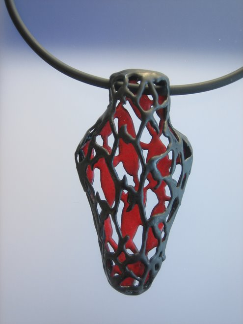 Red Amphora, copper, enamel, silver, caucho