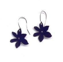 Aretes flor azul cobalto