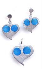 corazones plata 9.25 y esmalte azul