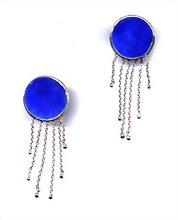 Aretes bolas azul cobalto plata 9.25 con esmalte