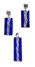 Aretes y dije trenza, cobre esmaltado en azul cobalto y plata 9.25