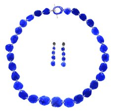 Collar y aretes esmalte azul cobalto, plata 1000, necklace and earrings enamelled pure silver