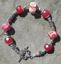 Pink Candy Lampwork and Red Jade Bracelet