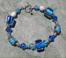 Deep Blue Ocean Cane and Silver