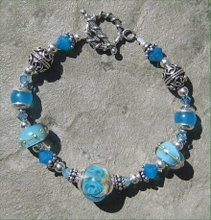 Carribean Blue Opal Lampwork and Crystal Bracelet
