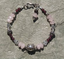 Rose Quartz and Garnet Bracelet