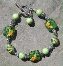 Summer Green and Yellow Lampwork with Green Turquoise