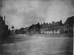 Bletchingley High Street, c 1884. White hart to left of photo, Cottage of Content to right.