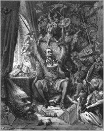 """Dom Quixote: """"Embebedou-se tanto na leitura que passava noites em claro."""" Por Gustave Doré"""