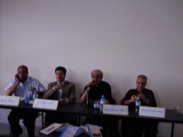 الأدباء المشاركون من اليمين: محمد صوف، سعيد بوكرامي،المهدي لعرج، مصطفى لغتيري