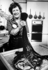 Julia Child holds up a monkfish on her television show Julia Child and Company in 1979