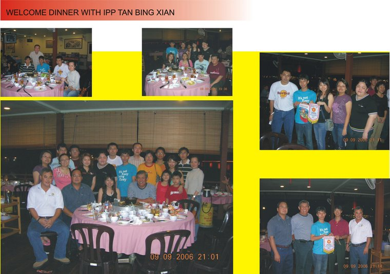 Welcome dinner for IPP Tan Bing Xian (9th September 2006)