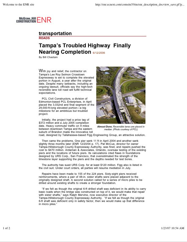Tampa's Troubled Highway nears completion