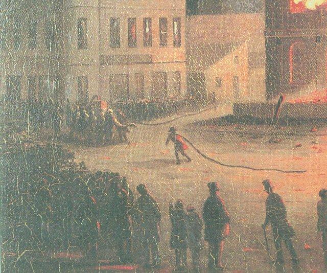 Pompiers devant le parlement le 25 avril 1849