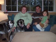 Esther with buds Jodi & Bob, and of course Cody & Digger dogs, November 2006