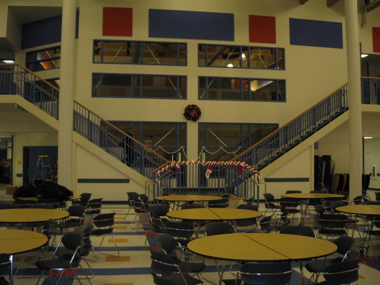 The commons area of the new school