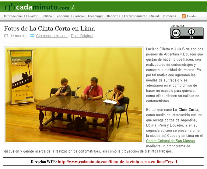 """(1') cadaminuto"" de Lima - Perú"