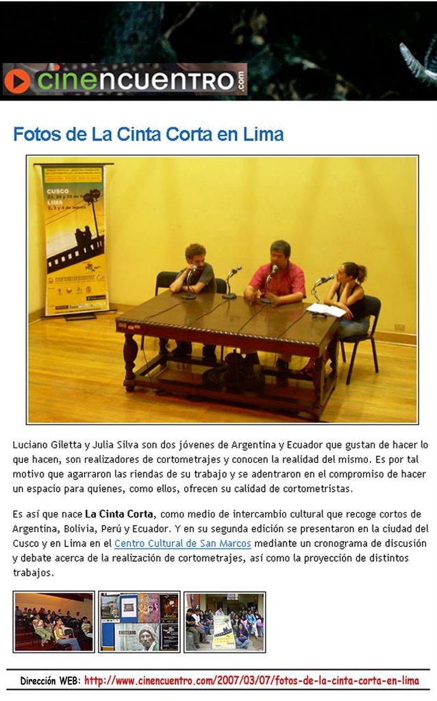 """""""Cinencuentro.com"""", Lima - Perú"""