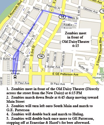 The Official Zombie March Route