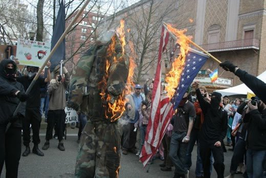 These Harmless Protesters Would Never Deface Anything! They Just Burn US Flags and US Soldiers!