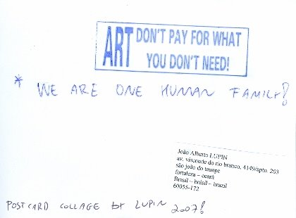 Joao Alberto Lupin, Brasil, Postcard Collage, Posted 06/07