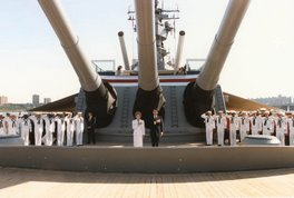 Ronnie and Nancy on USS Iowa